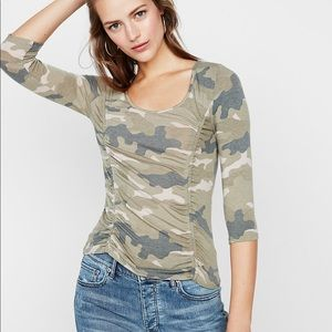 Express One Eleven Double Ruched Camo Top